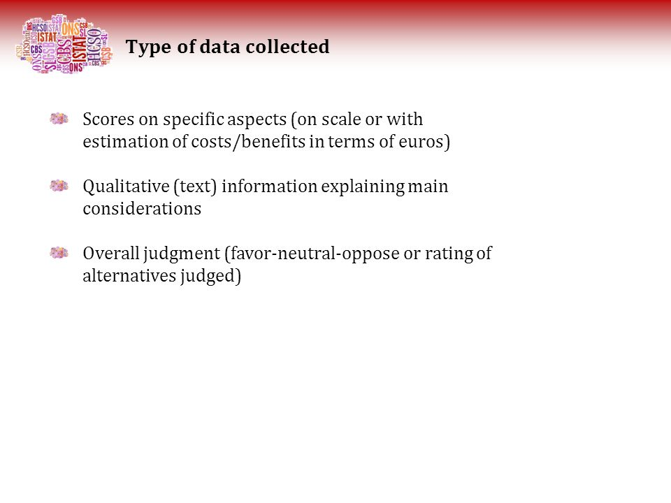 Type of data collected Scores on specific aspects (on scale or with estimation of costs/benefits in terms of euros) Qualitative (text) information explaining main considerations Overall judgment (favor-neutral-oppose or rating of alternatives judged)