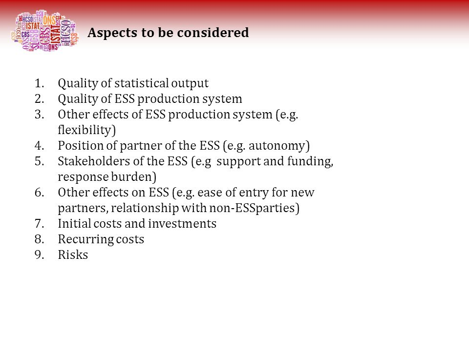 Aspects to be considered 1.Quality of statistical output 2.Quality of ESS production system 3.Other effects of ESS production system (e.g.