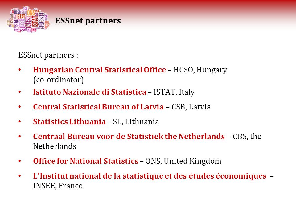 ESSnet partners : Hungarian Central Statistical Office – HCSO, Hungary (co-ordinator) Istituto Nazionale di Statistica – ISTAT, Italy Central Statistical Bureau of Latvia – CSB, Latvia Statistics Lithuania – SL, Lithuania Centraal Bureau voor de Statistiek the Netherlands – CBS, the Netherlands Office for National Statistics – ONS, United Kingdom L Institut national de la statistique et des études économiques – INSEE, France ESSnet partners