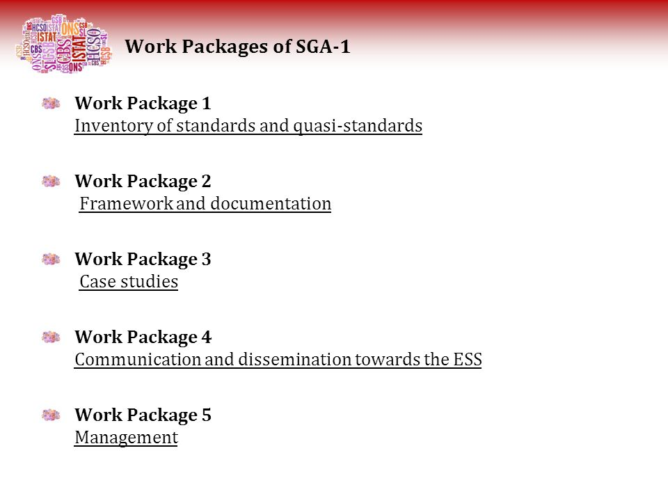 Work Package 1 Inventory of standards and quasi-standards Work Package 2 Framework and documentation Work Package 3 Case studies Work Package 4 Commun