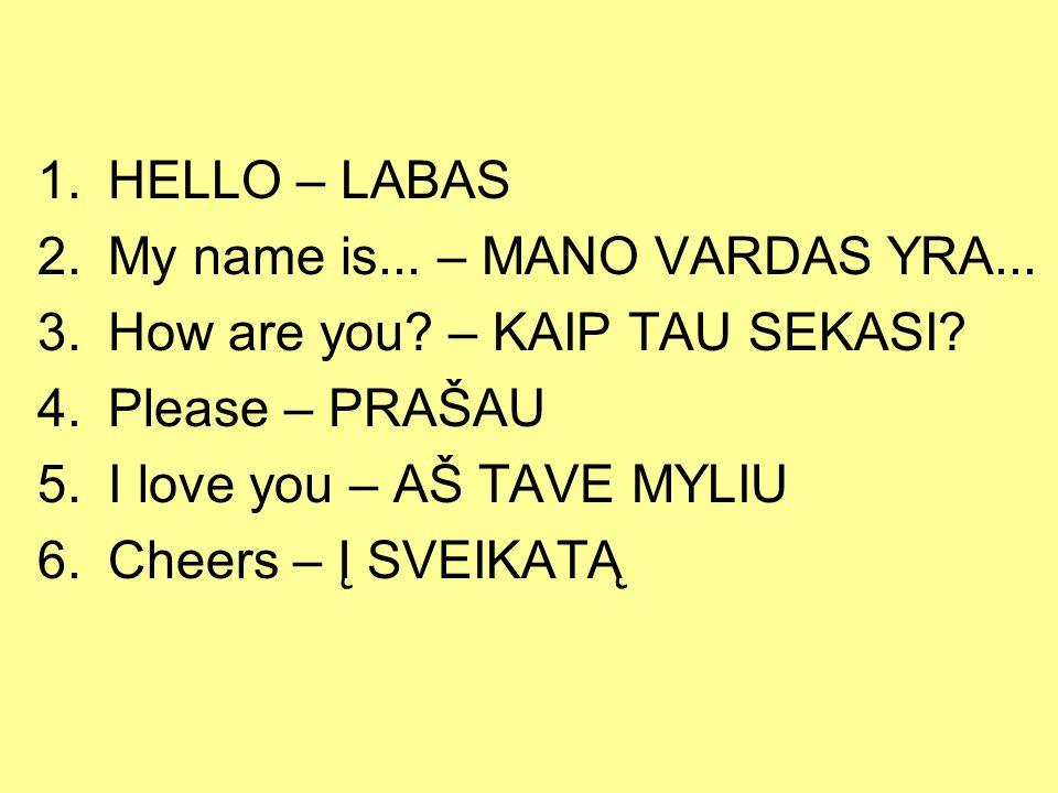 1.HELLO – LABAS 2.My name is... – MANO VARDAS YRA... 3.How are you? – KAIP TAU SEKASI? 4.Please – PRAŠAU 5.I love you – AŠ TAVE MYLIU 6.Cheers – Į SVE
