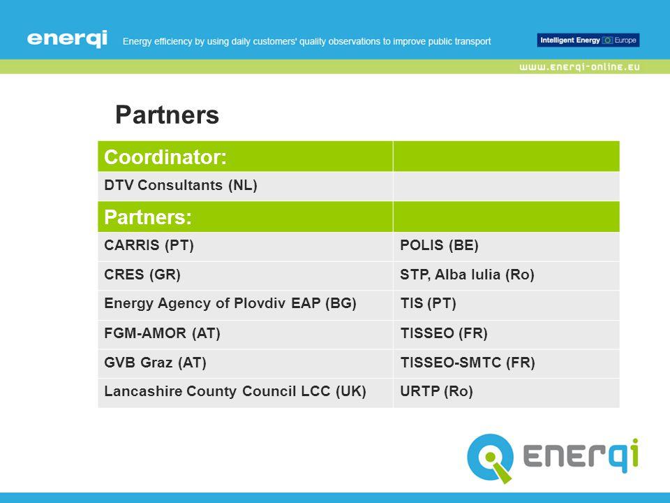 Partners Coordinator: DTV Consultants (NL) Partners: CARRIS (PT)POLIS (BE) CRES (GR)STP, Alba Iulia (Ro) Energy Agency of Plovdiv EAP (BG)TIS (PT) FGM-AMOR (AT)TISSEO (FR) GVB Graz (AT)TISSEO-SMTC (FR) Lancashire County Council LCC (UK)URTP (Ro)
