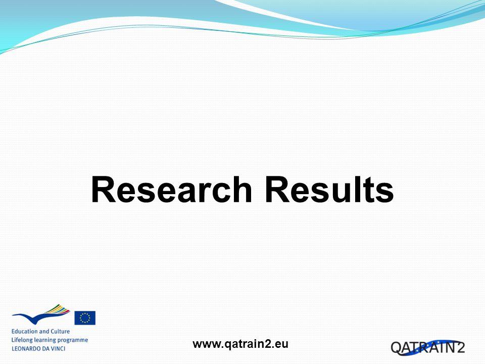 www.qatrain2.eu Stakeholder Research Sample - 184 persons