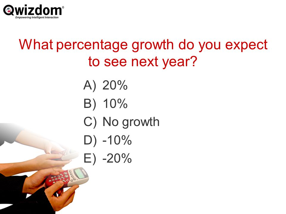 What percentage growth do you expect to see next year A)20% B)10% C)No growth D)-10% E)-20%