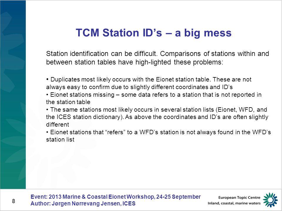 8 TCM Station ID's – a big mess Event: 2013 Marine & Coastal Eionet Workshop, 24-25 September Author: Jørgen Nørrevang Jensen, ICES Station identification can be difficult.