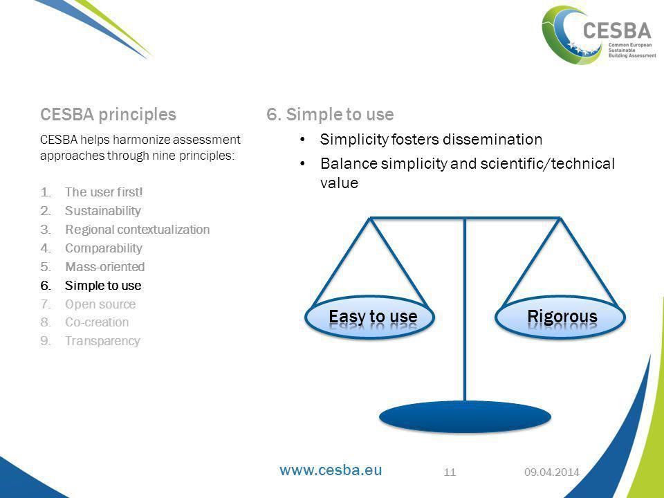 www.cesba.eu CESBA principles 6.