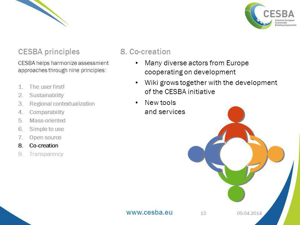 www.cesba.eu CESBA principles 8. Co-creation Many diverse actors from Europe cooperating on development Wiki grows together with the development of th