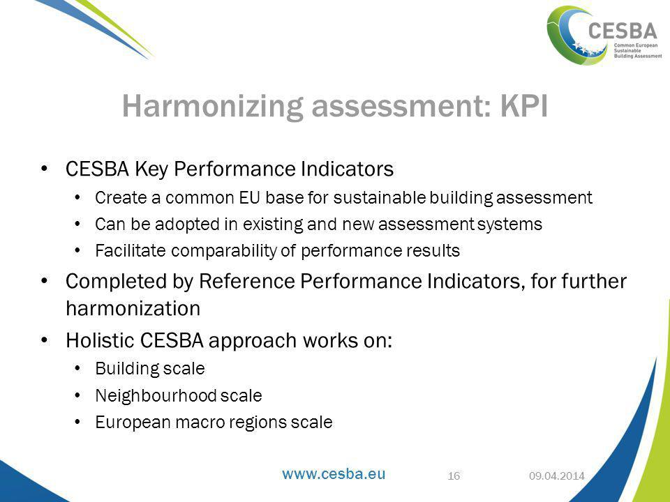 CESBA Key Performance Indicators Create a common EU base for sustainable building assessment Can be adopted in existing and new assessment systems Facilitate comparability of performance results Completed by Reference Performance Indicators, for further harmonization Holistic CESBA approach works on: Building scale Neighbourhood scale European macro regions scale Harmonizing assessment: KPI 16