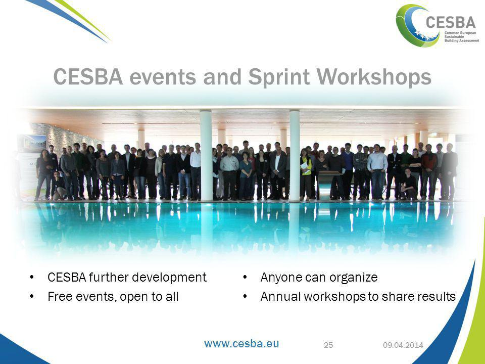 www.cesba.eu CESBA further development Free events, open to all Anyone can organize Annual workshops to share results 09.04.2014 CESBA events and Sprint Workshops 25