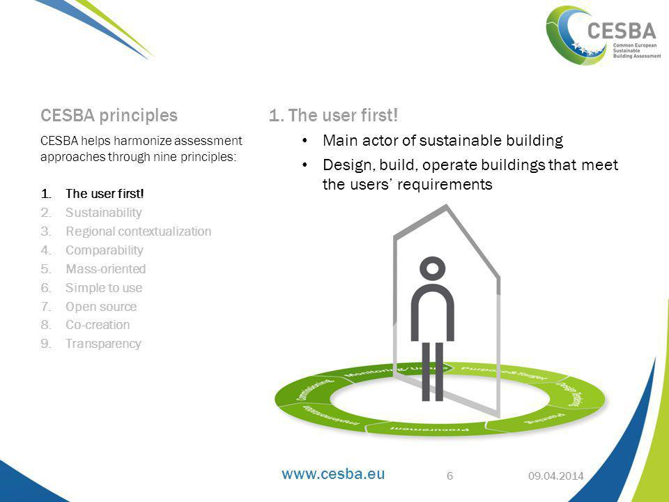 CESBA principles 1. The user first.