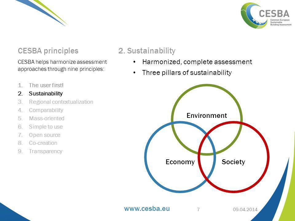 www.cesba.eu CESBA principles 3.