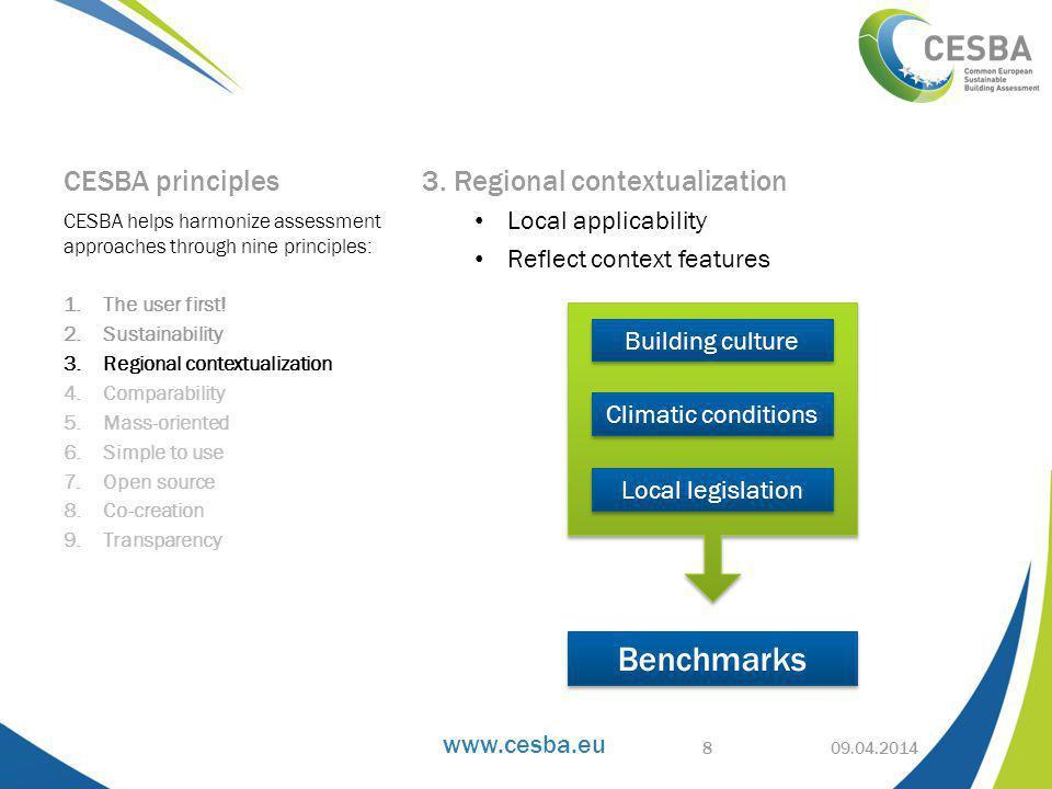 www.cesba.eu Immediate readability and comparison of results 09.04.2014 CESBA building signature 19