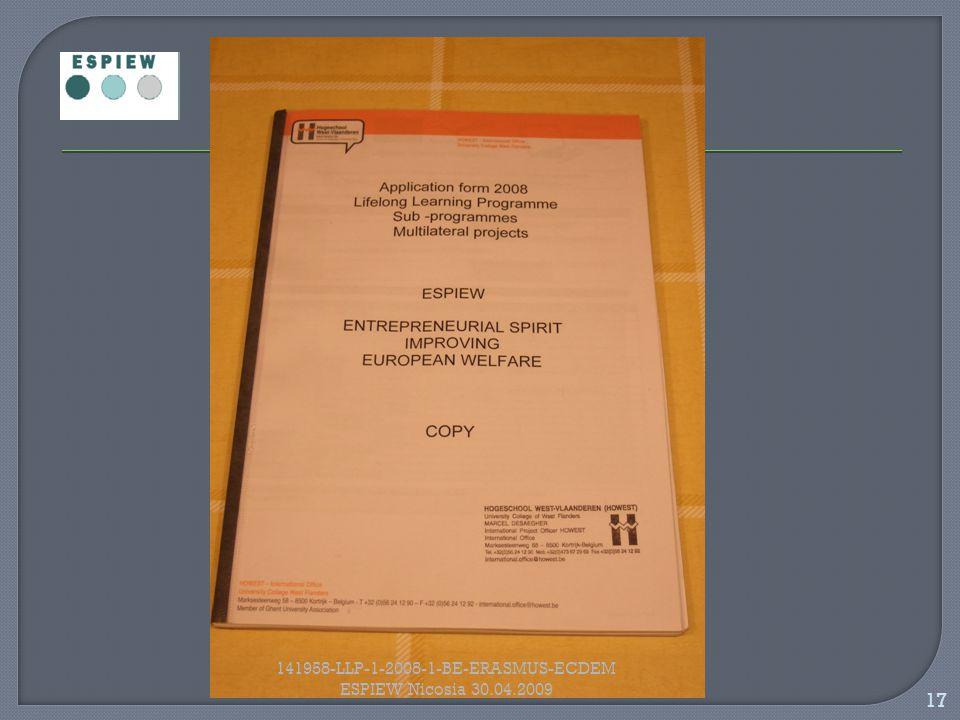 17 141958-LLP-1-2008-1-BE-ERASMUS-ECDEM ESPIEW Nicosia 30.04.2009