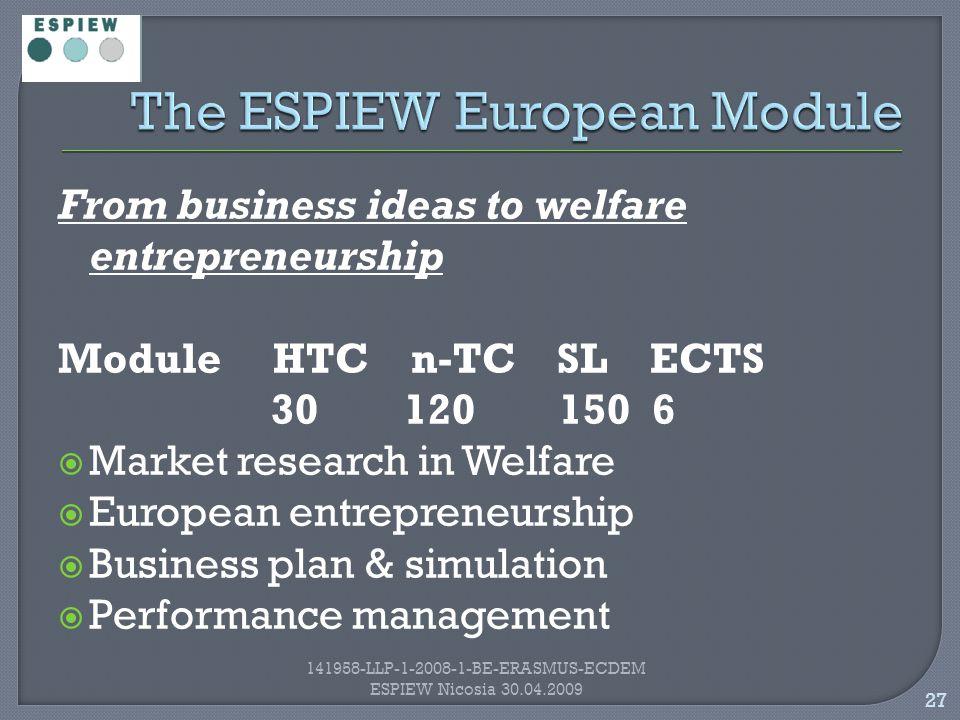 27 141958-LLP-1-2008-1-BE-ERASMUS-ECDEM ESPIEW Nicosia 30.04.2009 From business ideas to welfare entrepreneurship Module HTC n-TC SL ECTS 30 120 150 6