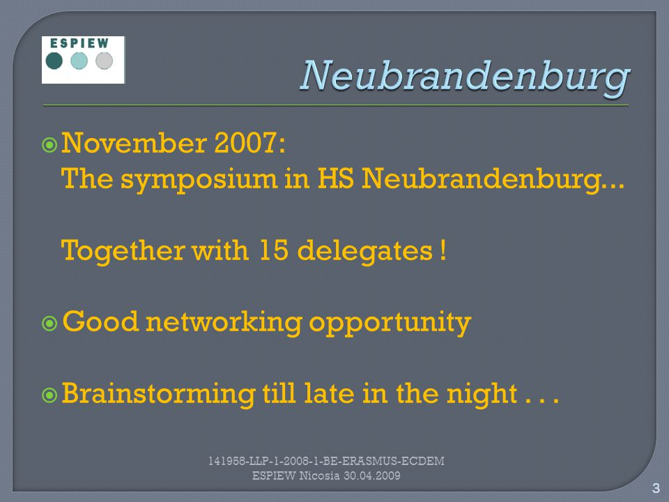  November 2007: The symposium in HS Neubrandenburg...