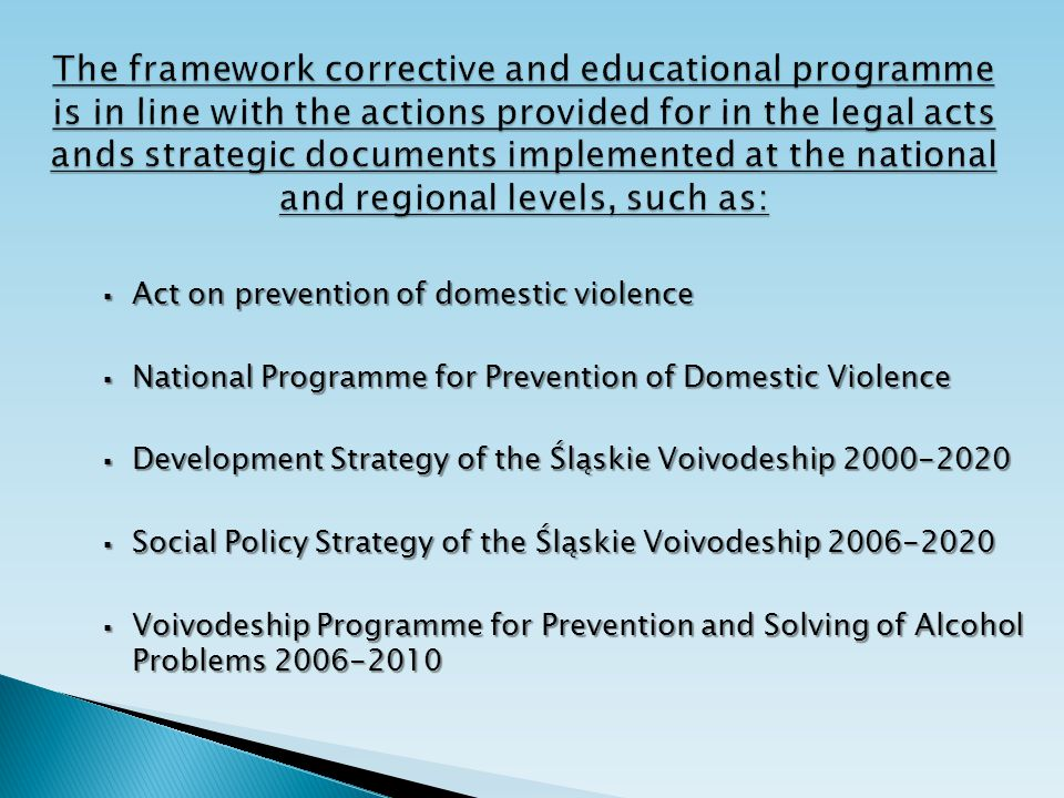  Act on prevention of domestic violence  National Programme for Prevention of Domestic Violence  Development Strategy of the Śląskie Voivodeship 20