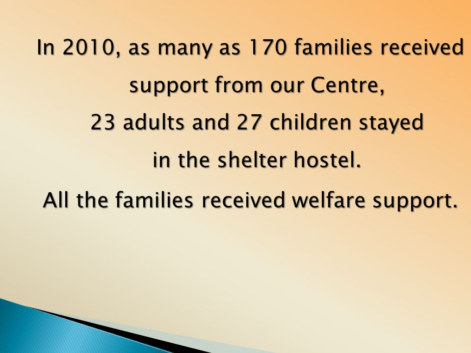 In 2010, as many as 170 families received support from our Centre, 23 adults and 27 children stayed in the shelter hostel. All the families received w