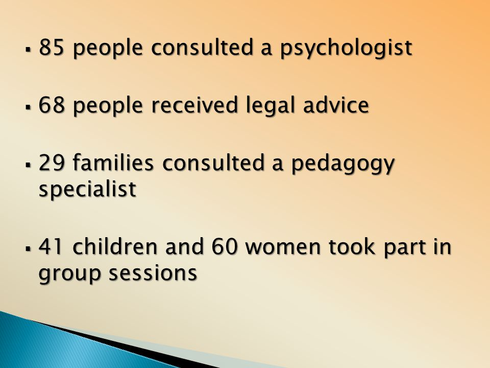  85 people consulted a psychologist  68 people received legal advice  29 families consulted a pedagogy specialist  41 children and 60 women took p