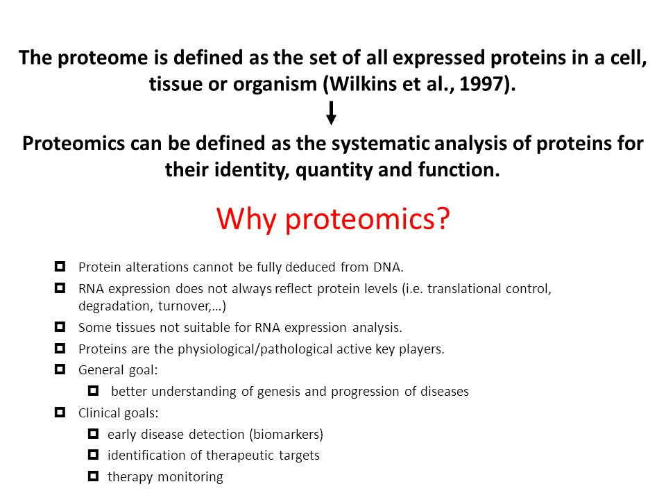 The proteome is defined as the set of all expressed proteins in a cell, tissue or organism (Wilkins et al., 1997).