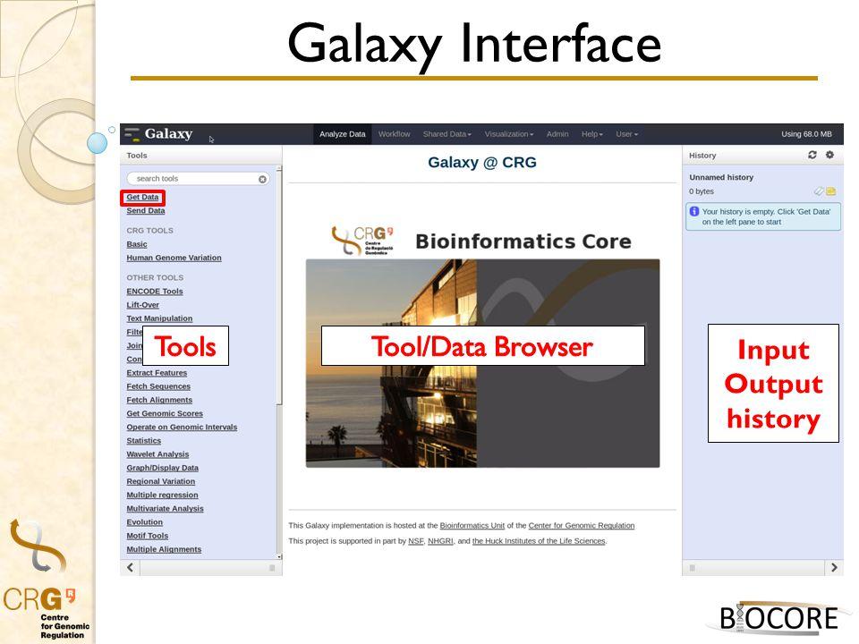 Galaxy Interface Input Output history