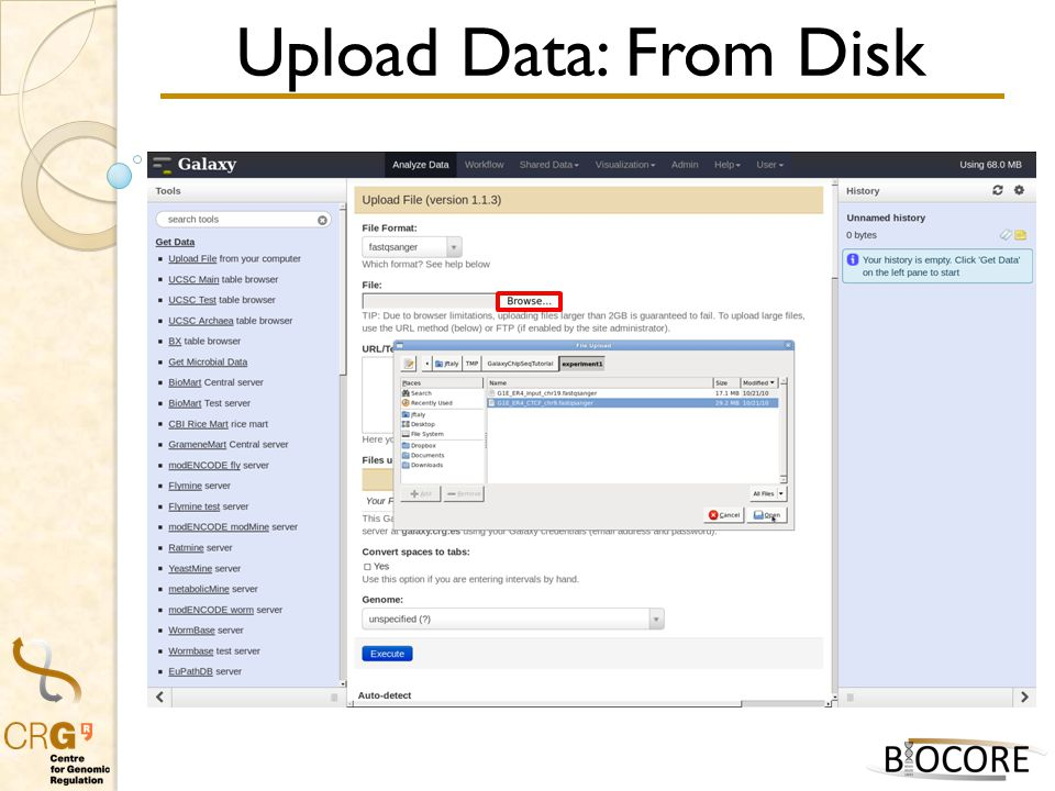Upload Data: From Disk
