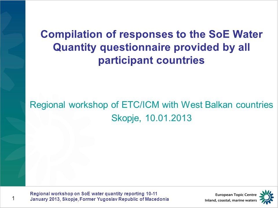 Currently active monitoring stations network Regional workshop on SoE water quantity reporting 10-11 January 2013, Skopje, Former Yugoslav Republic of Macedonia 2 ALBARSMEHRMKXK Reported RBDs74 2244 Total reported number of currently active streamflow stations 21792 25561911 Total reported number of currently active groundwater level measuring stations 54 21+ cca 30 (51?) 0574917 Total reported number of currently active precipitation stations 62 401531061 Total reported number of currently active reservoirs 458285