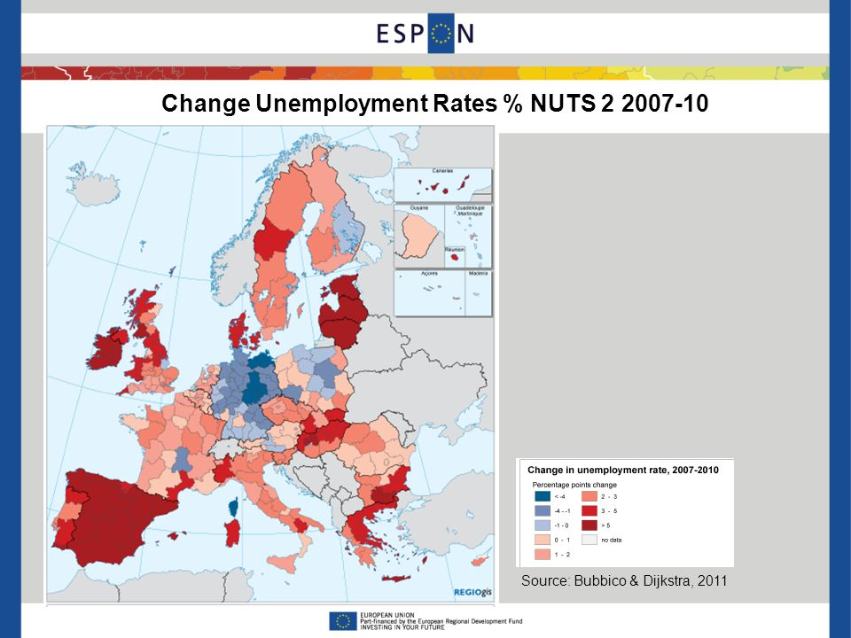 Change Unemployment Rates % NUTS 2 2007-10 Source: Bubbico & Dijkstra, 2011