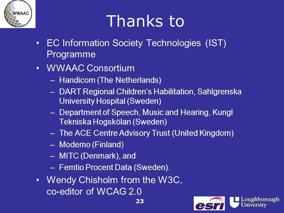23 Thanks to EC Information Society Technologies (IST) Programme WWAAC Consortium –Handicom (The Netherlands) –DART Regional Children's Habilitation,
