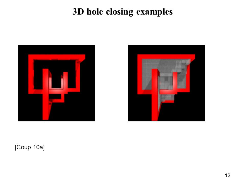 12 3D hole closing examples [Coup 10a]