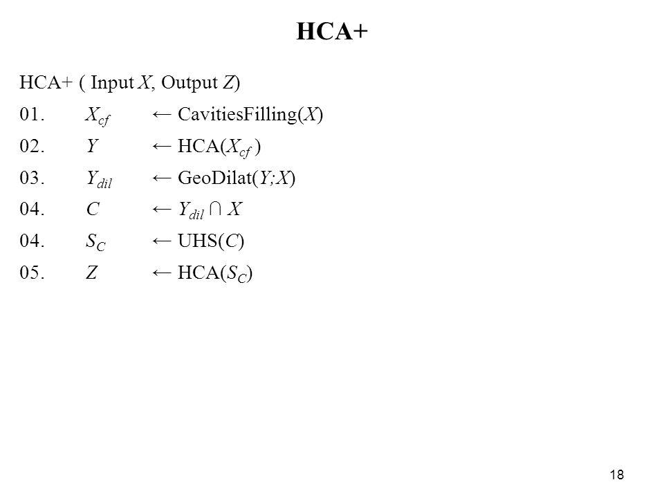 18 HCA+ HCA+ ( Input X, Output Z) 01. X cf ← CavitiesFilling(X) 02. Y ← HCA(X cf ) 03. Y dil ← GeoDilat(Y;X) 04. C ← Y dil ∩ X 04. S C ← UHS(C) 05. Z