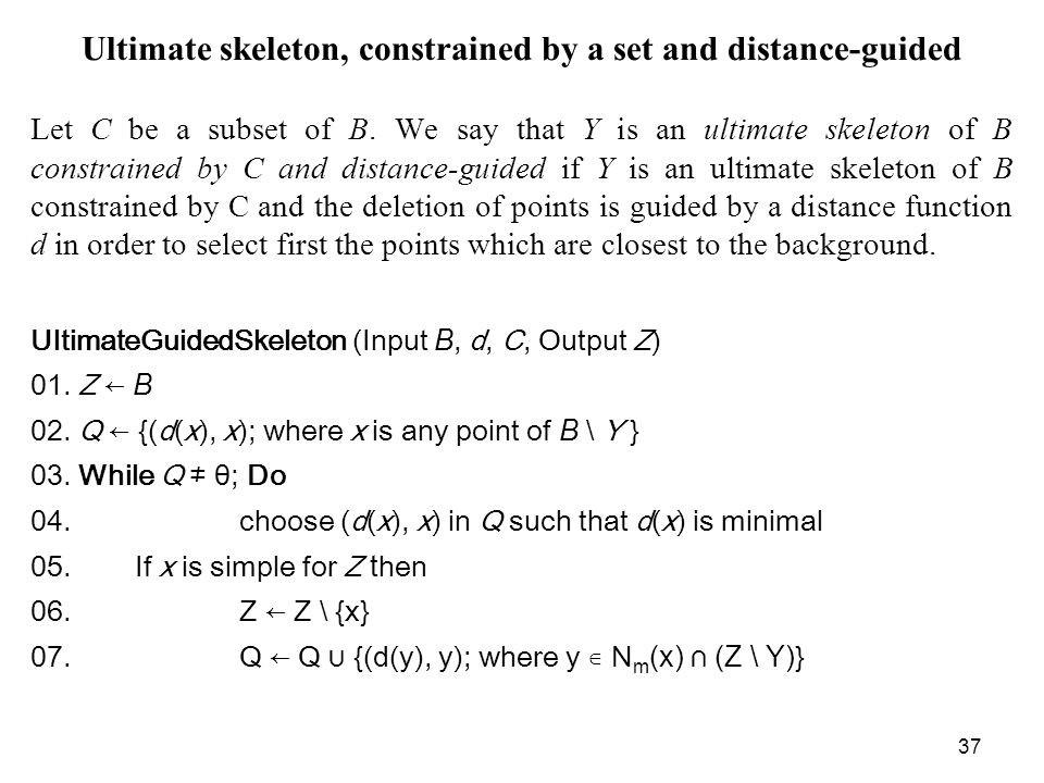 37 Ultimate skeleton, constrained by a set and distance-guided Let C be a subset of B.