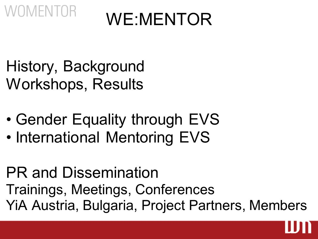 WE:MENTOR Main page
