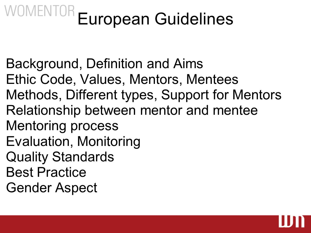 European Guidelines Background, Definition and Aims Ethic Code, Values, Mentors, Mentees Methods, Different types, Support for Mentors Relationship between mentor and mentee Mentoring process Evaluation, Monitoring Quality Standards Best Practice Gender Aspect