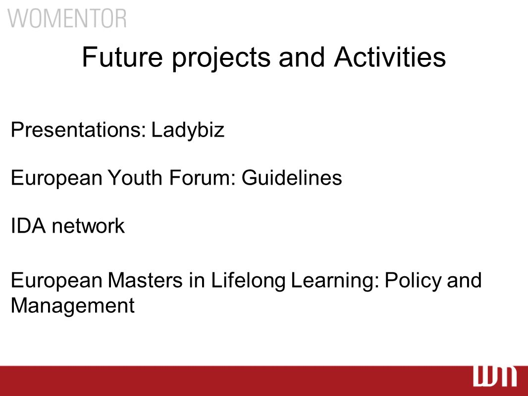 Future projects and Activities Presentations: Ladybiz European Youth Forum: Guidelines IDA network European Masters in Lifelong Learning: Policy and Management