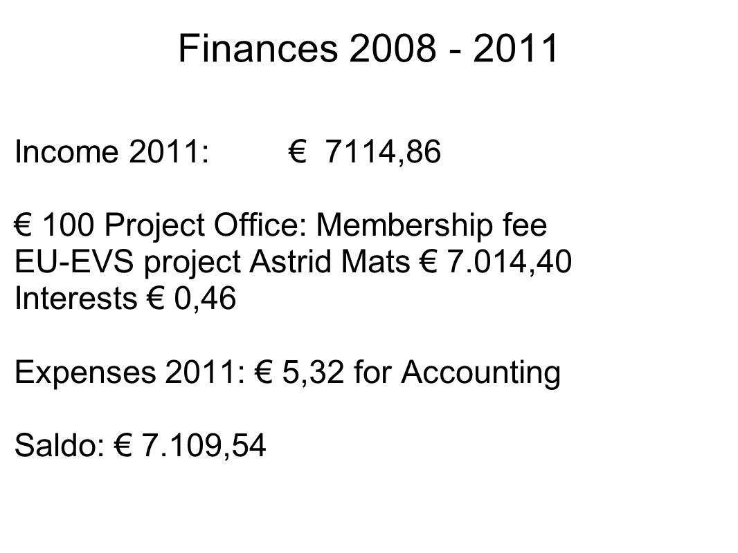 Finances 2008 - 2011 Income 2011: € 7114,86 € 100 Project Office: Membership fee EU-EVS project Astrid Mats € 7.014,40 Interests € 0,46 Expenses 2011: € 5,32 for Accounting Saldo: € 7.109,54