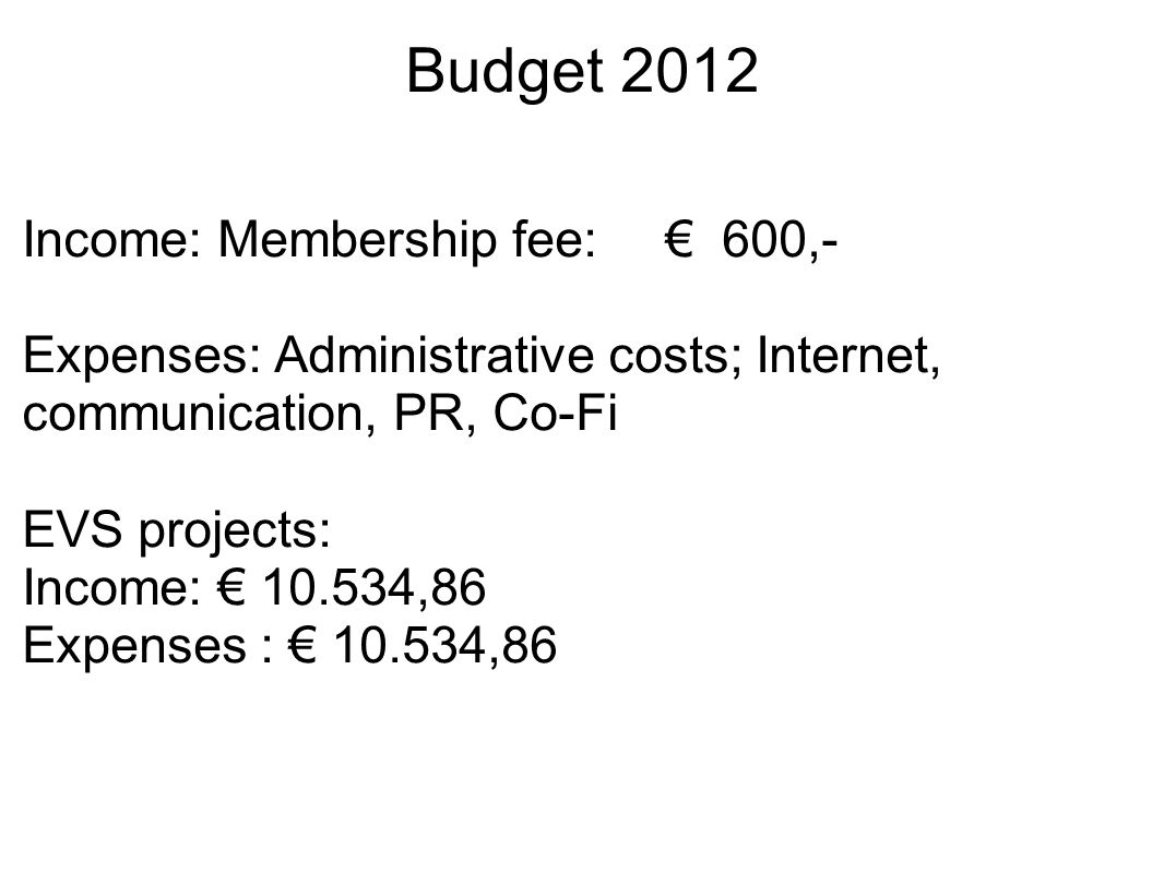 Budget 2012 Income: Membership fee: € 600,- Expenses: Administrative costs; Internet, communication, PR, Co-Fi EVS projects: Income: € 10.534,86 Expenses : € 10.534,86