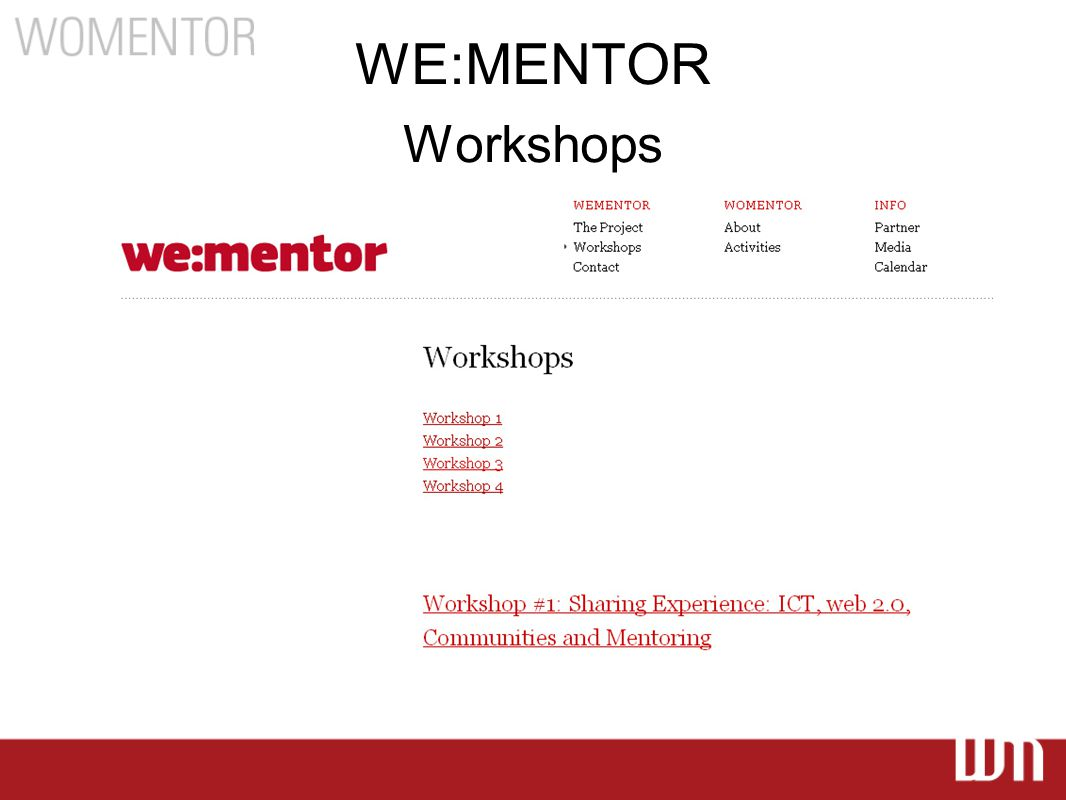 WE:MENTOR Workshops