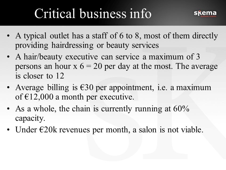 Critical business info A typical outlet has a staff of 6 to 8, most of them directly providing hairdressing or beauty services A hair/beauty executive can service a maximum of 3 persons an hour x 6 = 20 per day at the most.