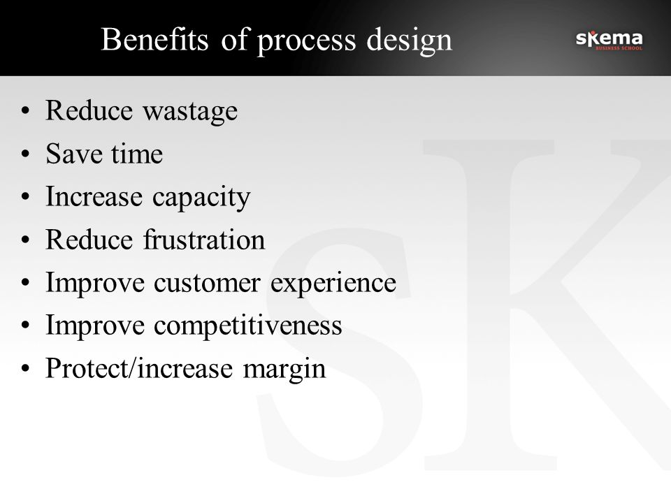 Benefits of process design Reduce wastage Save time Increase capacity Reduce frustration Improve customer experience Improve competitiveness Protect/increase margin