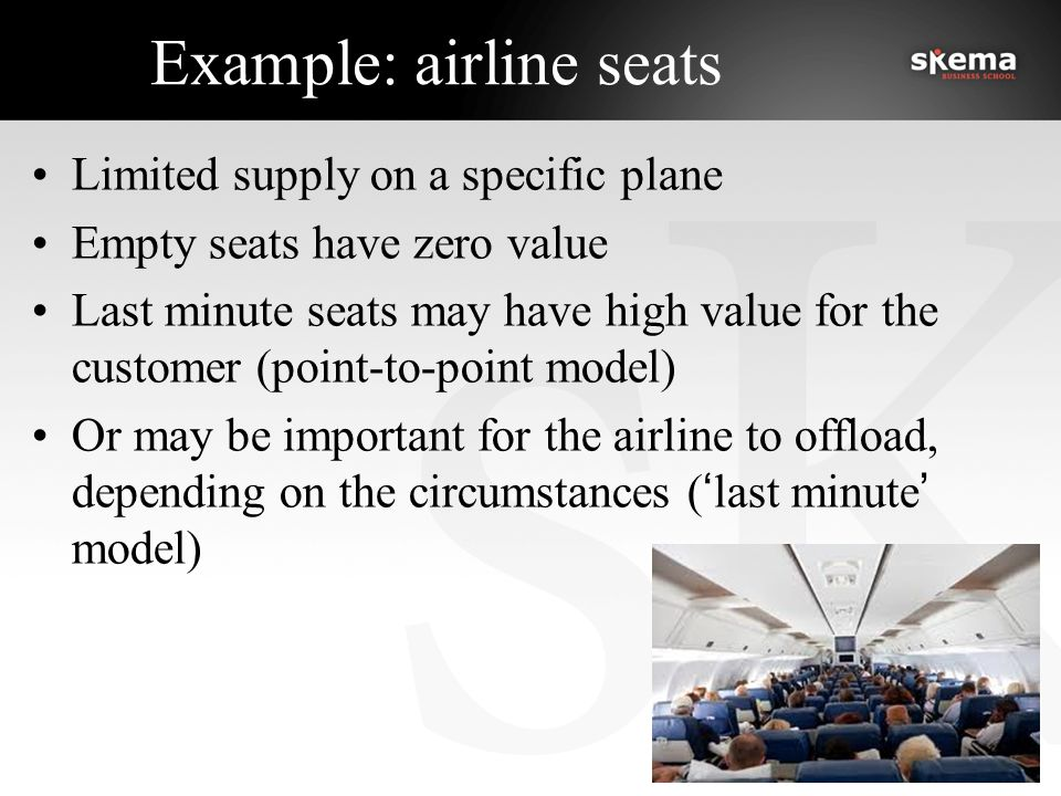 Example: airline seats Limited supply on a specific plane Empty seats have zero value Last minute seats may have high value for the customer (point-to-point model) Or may be important for the airline to offload, depending on the circumstances ('last minute' model)