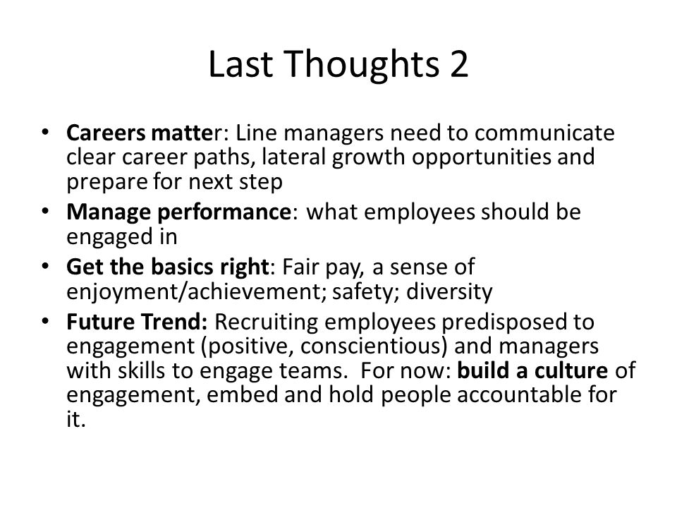 Last Thoughts 2 Careers matter: Line managers need to communicate clear career paths, lateral growth opportunities and prepare for next step Manage performance: what employees should be engaged in Get the basics right: Fair pay, a sense of enjoyment/achievement; safety; diversity Future Trend: Recruiting employees predisposed to engagement (positive, conscientious) and managers with skills to engage teams.