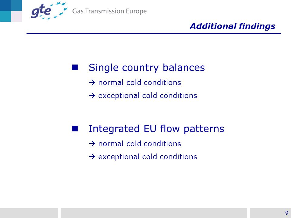 9 Single country balances  normal cold conditions  exceptional cold conditions Integrated EU flow patterns  normal cold conditions  exceptional cold conditions Additional findings