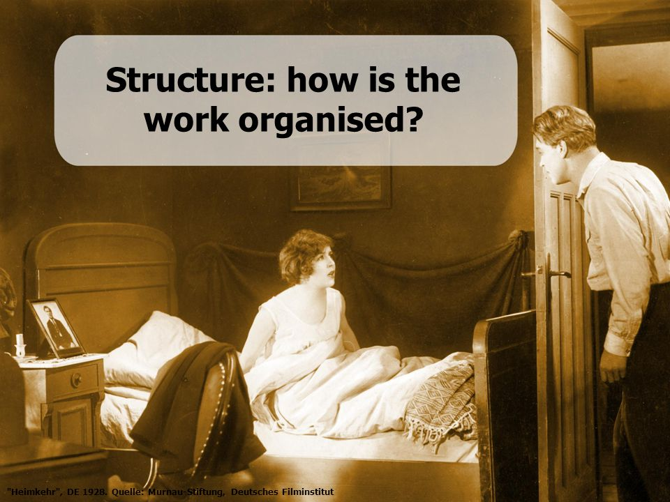 Structure: how is the work organised. Heimkehr , DE 1928.