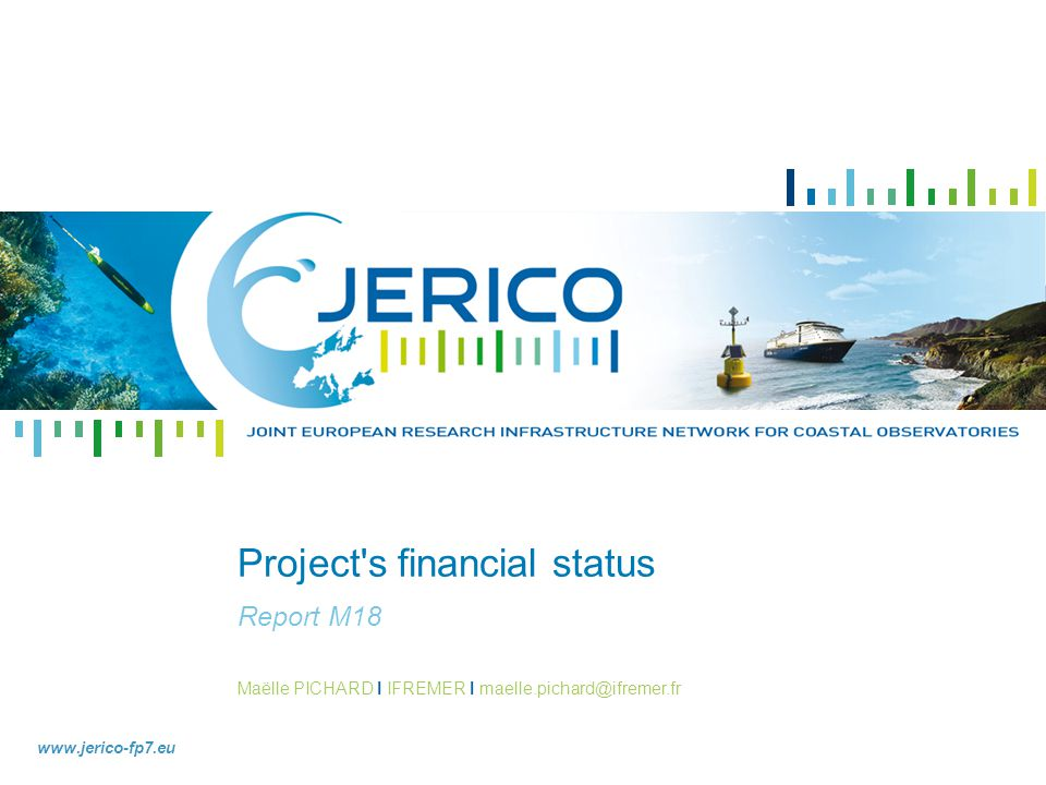 project s financial status - JERICO - Expenditure rate compared to the initial budget Workpackage 11 45.15% of WP11 budget has been spent WP11 has the higher percentage of realised costs A considerable effort has been made on the management for the JERICO project launch