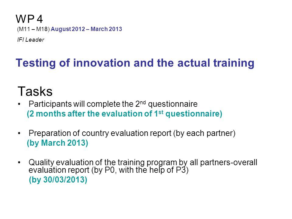 WP 5 (M19– M22) April 2013 – July 2013 SIGMA Leader Development of the final training package Aims Development Translation (Greek, Spanish, Italian) Publication