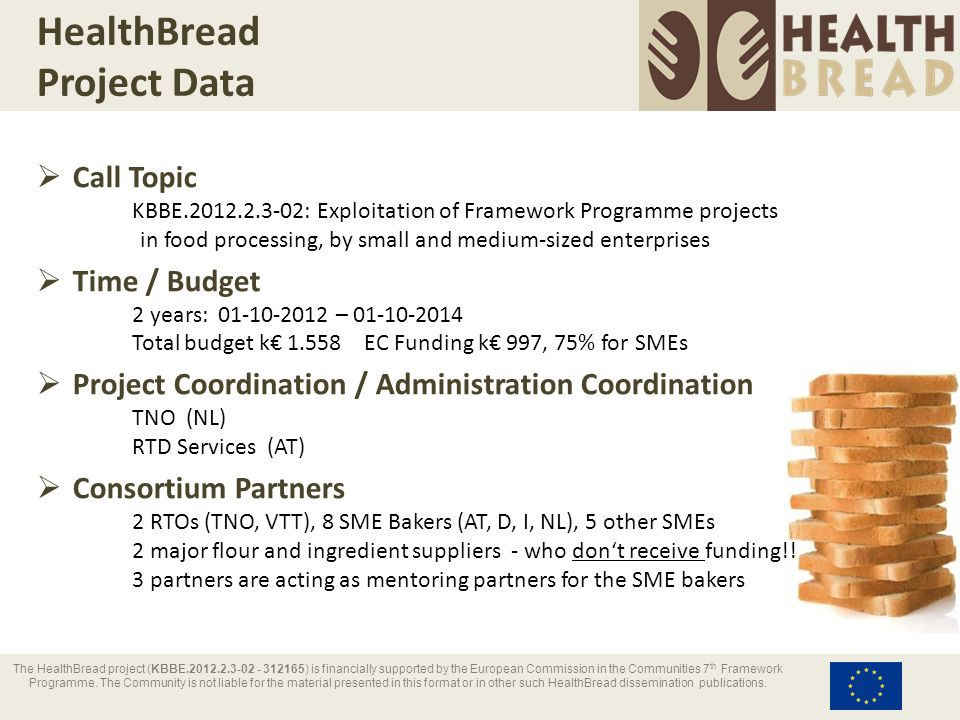 HealthBread Project Data  Call Topic KBBE.2012.2.3-02: Exploitation of Framework Programme projects in food processing, by small and medium-sized ent