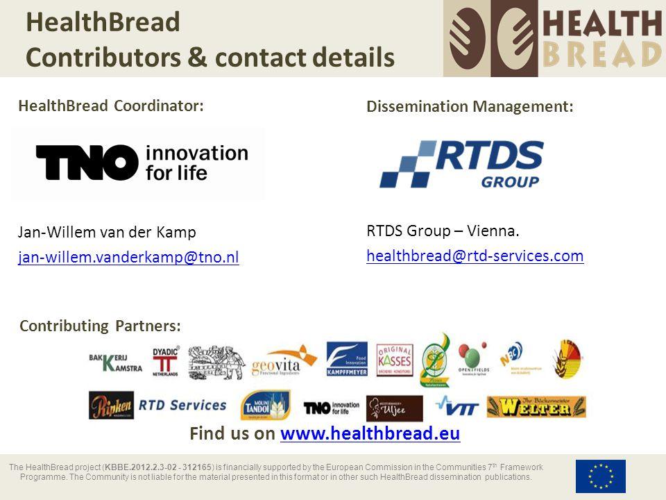 HealthBread Contributors & contact details HealthBread Coordinator: Jan-Willem van der Kamp jan-willem.vanderkamp@tno.nl Dissemination Management: RTD