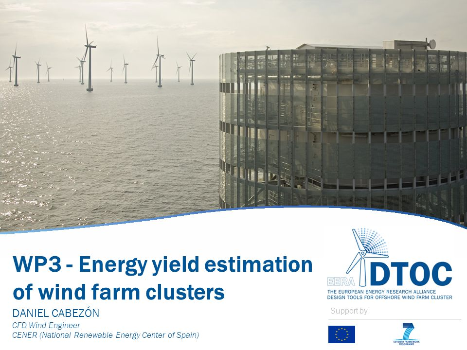 WP3 - Energy yield estimation of wind farm clusters DANIEL CABEZÓN CFD Wind Engineer CENER (National Renewable Energy Center of Spain) Support by