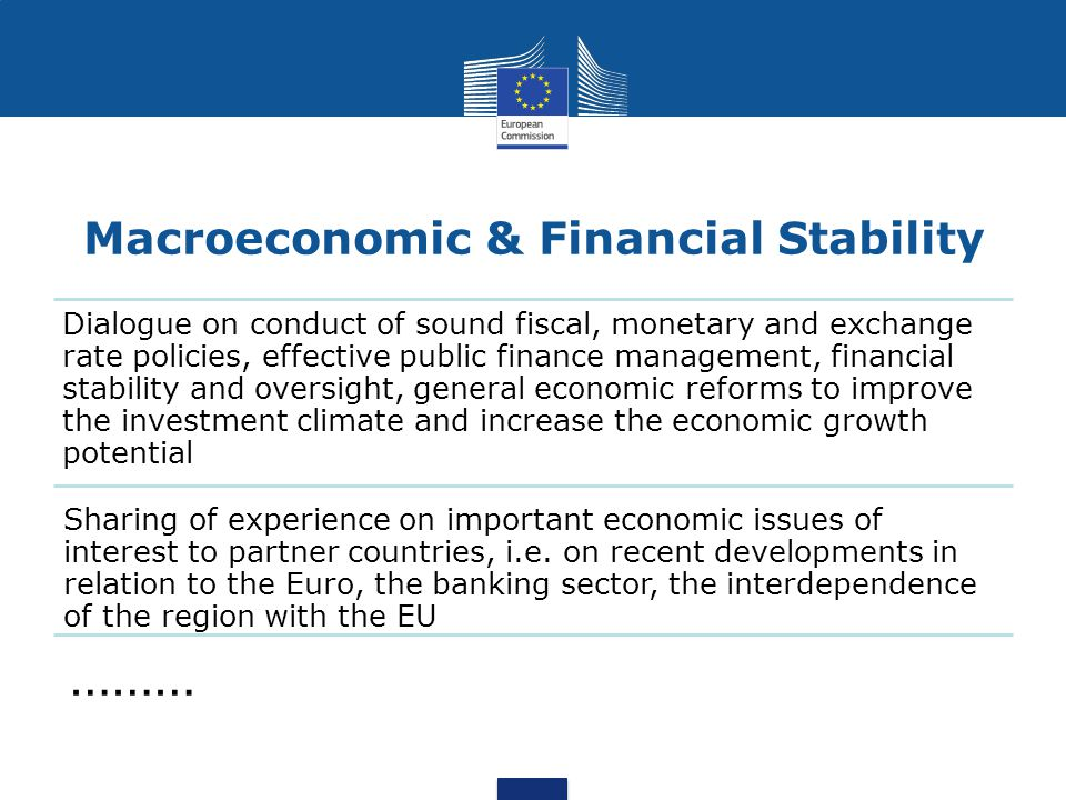 Macroeconomic & Financial Stability Dialogue on conduct of sound fiscal, monetary and exchange rate policies, effective public finance management, financial stability and oversight, general economic reforms to improve the investment climate and increase the economic growth potential Sharing of experience on important economic issues of interest to partner countries, i.e.
