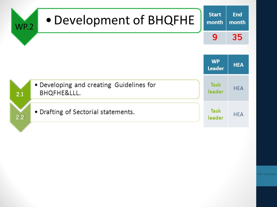 WP.2 Development of BHQFHE Mile Dželalija 2.1 Developing and creating Guidelines for BHQFHE&LLL.